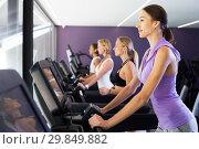 Women running on treadmills. Стоковое фото, фотограф Яков Филимонов / Фотобанк Лори