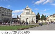 Купить «Солнечный день у базилики Санта Мария Новелла. Флоренция, Италия», видеоролик № 29850690, снято 19 сентября 2017 г. (c) Виктор Карасев / Фотобанк Лори