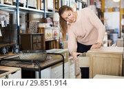 Купить «Female choosing commode in store», фото № 29851914, снято 15 ноября 2017 г. (c) Яков Филимонов / Фотобанк Лори