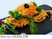 Купить «Tasty fried vegetarian carrots cutlets with greens served at plate», фото № 29852218, снято 18 июня 2019 г. (c) Яков Филимонов / Фотобанк Лори
