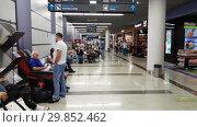 Купить «Moscow, Russia - June 6. 2018. people in Departure hall of airport Vnukovo», видеоролик № 29852462, снято 4 февраля 2019 г. (c) Володина Ольга / Фотобанк Лори