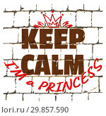 Купить «Keep Calm I'm Princess printed on stylized brick wall. Textured humorous inscription for your design. Vector», иллюстрация № 29857590 (c) Dmitry Domashenko / Фотобанк Лори