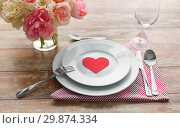 Купить «close up of table setting for valentines day», фото № 29874334, снято 9 февраля 2018 г. (c) Syda Productions / Фотобанк Лори
