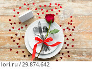 Купить «close up of table setting for valentines day», фото № 29874642, снято 9 февраля 2018 г. (c) Syda Productions / Фотобанк Лори