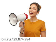 Купить «young woman or teenage girl with megaphone», фото № 29874994, снято 10 ноября 2018 г. (c) Syda Productions / Фотобанк Лори