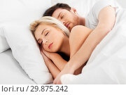 Купить «happy couple sleeping in bed at home», фото № 29875242, снято 25 февраля 2016 г. (c) Syda Productions / Фотобанк Лори