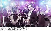 Купить «Colleagues communicate on corporate party», фото № 29875746, снято 20 апреля 2017 г. (c) Яков Филимонов / Фотобанк Лори