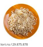 Купить «Top view of pearl barley porridge», фото № 29875878, снято 27 июня 2019 г. (c) Яков Филимонов / Фотобанк Лори