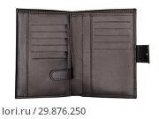 Купить «Opened black wallet isolated on white», фото № 29876250, снято 8 ноября 2014 г. (c) Людмила Дутко / Фотобанк Лори