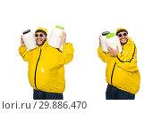 Купить «Overweight man isolated on the white», фото № 29886470, снято 26 апреля 2015 г. (c) Elnur / Фотобанк Лори