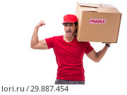 Купить «Young male courier with box», фото № 29887454, снято 9 ноября 2018 г. (c) Elnur / Фотобанк Лори