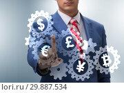 Купить «Concept of various main currencies including bitcoin», фото № 29887534, снято 17 сентября 2019 г. (c) Elnur / Фотобанк Лори