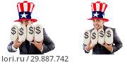 Купить «Man with american hat with moneybags», фото № 29887742, снято 17 июня 2019 г. (c) Elnur / Фотобанк Лори