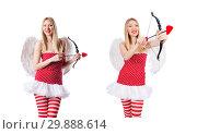 Купить «Woman with bow in valentine concept», фото № 29888614, снято 20 декабря 2012 г. (c) Elnur / Фотобанк Лори