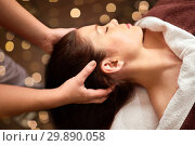 Купить «woman having head massage at spa», фото № 29890058, снято 26 января 2017 г. (c) Syda Productions / Фотобанк Лори