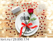 Купить «close up of table setting for valentines day», фото № 29890174, снято 9 февраля 2018 г. (c) Syda Productions / Фотобанк Лори