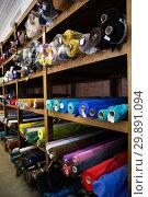 Купить «different fabric bolts exposed on shelves», фото № 29891094, снято 2 марта 2018 г. (c) Яков Филимонов / Фотобанк Лори