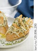 Montadito de revuelto de setas con angulas / Montadito of scrambled mushrooms with elvers. Стоковое фото, фотограф Becky Lawton Photography / age Fotostock / Фотобанк Лори