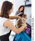Купить «Hairdresser making hairstyle for elderly female», фото № 29898526, снято 26 июня 2018 г. (c) Яков Филимонов / Фотобанк Лори
