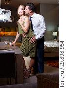 Купить «Romantic woman and man at home», фото № 29898954, снято 24 сентября 2018 г. (c) Яков Филимонов / Фотобанк Лори