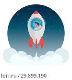 Купить «Rocket with a man flying into space», иллюстрация № 29899190 (c) Дмитрий Бачтуб / Фотобанк Лори