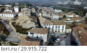 Купить «View from drone of roofs of houses in traditional village of Liedena in foggy morning, Navarre, Spain», видеоролик № 29915722, снято 23 декабря 2018 г. (c) Яков Филимонов / Фотобанк Лори