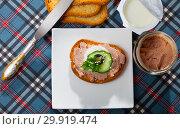 Купить «Top view of toast with pate, fresh cheese on white plate», фото № 29919474, снято 16 февраля 2020 г. (c) Яков Филимонов / Фотобанк Лори