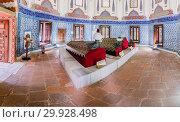 Купить «Interior view of Prince Mustafa tomb,mausoleum at Muradiye complex or Complex of Sultan Murad II in Bursa,Turkey. 20 May 2018.», фото № 29928498, снято 20 мая 2018 г. (c) easy Fotostock / Фотобанк Лори