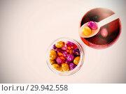 Купить «Marinated olives in bowl and jar», фото № 29942558, снято 24 февраля 2019 г. (c) Wavebreak Media / Фотобанк Лори