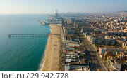 Купить «Aerial view of the spanish city of Badalona. Barcelona, Spain», фото № 29942778, снято 19 января 2019 г. (c) Яков Филимонов / Фотобанк Лори
