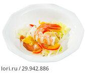 Купить «Ceviche with shrimps, fresh vegetables», фото № 29942886, снято 16 июля 2019 г. (c) Яков Филимонов / Фотобанк Лори