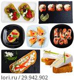 Купить «Collage of various sandwiches on a white background», фото № 29942902, снято 26 марта 2019 г. (c) Яков Филимонов / Фотобанк Лори