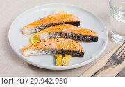 Купить «Grilled salmon with asparagus», фото № 29942930, снято 22 марта 2019 г. (c) Яков Филимонов / Фотобанк Лори
