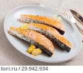 Купить «Baked salmon with asparagus», фото № 29942934, снято 22 марта 2019 г. (c) Яков Филимонов / Фотобанк Лори