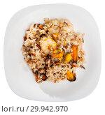 Купить «Top view of rice with shrimps and mussels», фото № 29942970, снято 14 декабря 2018 г. (c) Яков Филимонов / Фотобанк Лори