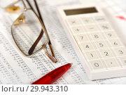 Купить «Калькулятор, таблицы, графики, диаграммы и ручка. Бизнес-натюрморт», эксклюзивное фото № 29943310, снято 9 февраля 2019 г. (c) Юрий Морозов / Фотобанк Лори