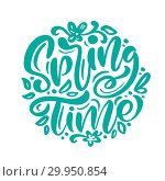 Купить «Calligraphy lettering phrase Spring Time. Vector Hand Drawn Isolated text. sketch doodle design for greeting card, scrapbook, print», иллюстрация № 29950854 (c) Happy Letters / Фотобанк Лори