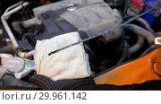 Купить «Car service. Mechanic man checks the oil state. The oil needs replacement», фото № 29961142, снято 14 февраля 2019 г. (c) Константин Шишкин / Фотобанк Лори