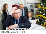 Купить «Business team tensely solving problems in office with offended man foreground», фото № 29961154, снято 14 января 2019 г. (c) Яков Филимонов / Фотобанк Лори