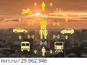 Ridesharing and carpooling concept in the city. Стоковое фото, фотограф Elnur / Фотобанк Лори