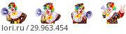 Купить «Funny male clown with megaphone», фото № 29963454, снято 19 марта 2019 г. (c) Elnur / Фотобанк Лори
