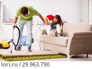 Купить «Husband helping leg injured wife in housework», фото № 29963790, снято 4 октября 2018 г. (c) Elnur / Фотобанк Лори