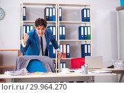 Купить «Employee stealing important information in industrial espionage», фото № 29964270, снято 10 августа 2018 г. (c) Elnur / Фотобанк Лори