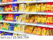 Купить «Russia, Samara, January 2019: a wide selection of pasta in a large supermarket.», фото № 29969754, снято 16 января 2019 г. (c) Акиньшин Владимир / Фотобанк Лори