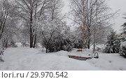 Купить «City park and bench during a snowfall in Moscow, Russia», видеоролик № 29970542, снято 13 февраля 2019 г. (c) Володина Ольга / Фотобанк Лори