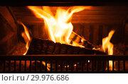Купить «Firewood burns in the fireplace», фото № 29976686, снято 26 января 2019 г. (c) EugeneSergeev / Фотобанк Лори