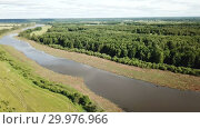 Купить «Panoramic view of gulf meadows in the floodplain of the Oka River, Russia», видеоролик № 29976966, снято 28 июня 2018 г. (c) Яков Филимонов / Фотобанк Лори