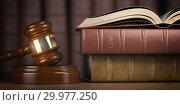 Купить «Justice, law and legal concept. Judge gavel and law books.», фото № 29977250, снято 3 июля 2020 г. (c) Maksym Yemelyanov / Фотобанк Лори