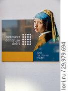 Купить «Настенная табличка на здании музея художника Вермеера», фото № 29979694, снято 3 июля 2018 г. (c) V.Ivantsov / Фотобанк Лори