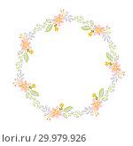 Купить «Spring flower herbs wreath. Flat abstract Vector garden frame, woman day romantic holiday, wedding invitation card decoration element summer floral Illustration isolated white background», иллюстрация № 29979926 (c) Happy Letters / Фотобанк Лори